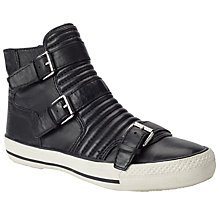 Buy Ash Volt Buckled High Top Trainers, Black Leather Online at johnlewis.com