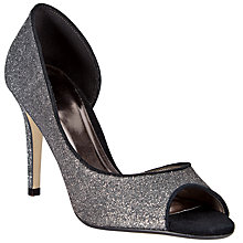 Buy John Lewis Duke Peep Toe Court Shoe, Silver Glitter Online at johnlewis.com