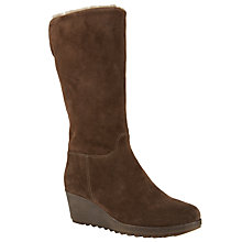 Buy John Lewis Designed for Comfort Thistle Suede Wedge Calf Boots, Brown Online at johnlewis.com