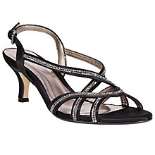 Buy John Lewis Glamour Embellished Strap Kitten Heel Sandals, Black Satin Online at johnlewis.com