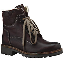 Buy John Lewis Manchester Nubuck Lace Up Faux Fur Ankle Boots, Brown Online at johnlewis.com