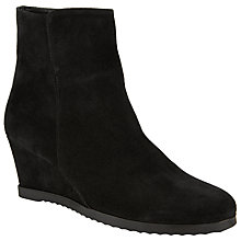 Buy John Lewis Designed for Comfort Pigeon Suede Wedge Ankle Boots, Black Online at johnlewis.com