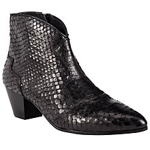 Buy Ash Hurrican Mid Heeled Ankle Boot, Black Reptile Effect Leather Online at johnlewis.com