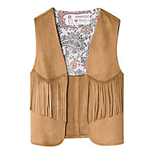 Buy Mango Kids Girls' Fringed Gilet, Medium Brown Online at johnlewis.com
