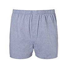 Buy Sunspel Dot Chambray Woven Cotton Boxers, Blue Online at johnlewis.com