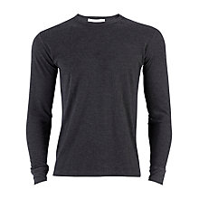 Buy Sunspel Long Sleeve Thermal T-Shirt, Charcoal Online at johnlewis.com