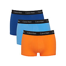 Buy Calvin Klein Underwear Exclusive Stretch Cotton Trunks, Pack of 3, Navy/Blue/Orange Online at johnlewis.com
