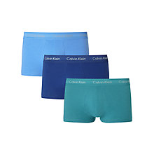 Buy Calvin Klein Underwear Low Rise Trunks, Pack of 3, Blue/Navy/Turquoise Online at johnlewis.com