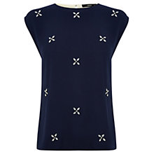 Buy Oasis Embellished Front Tee, Navy Online at johnlewis.com