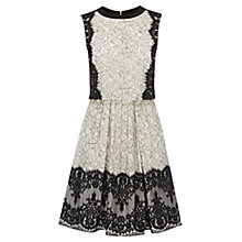Buy Karen Millen Layered Effect Lace Dress, Black/White Online at johnlewis.com