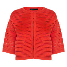 Buy Karen Millen Ripple Texture Knitted Cardigan, Coral Online at johnlewis.com