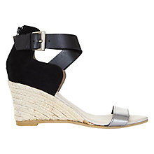 Buy Mint Velvet Blair Leather Wedge Heeled Sandals, Black/Metallic Online at johnlewis.com