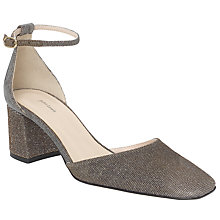 Buy John Lewis Adele Cut Away Block Heeled Courts, Gold Fabric Online at johnlewis.com