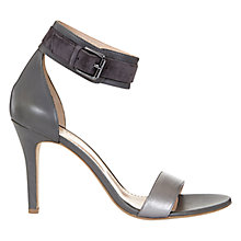 Buy Mint Velvet Sofia Leather Ankle Strap Stiletto Sandals, Grey/Pewter Online at johnlewis.com