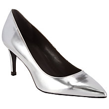 Buy Kin by John Lewis Alexa Leather Pointed Court Shoes, Silver Online at johnlewis.com