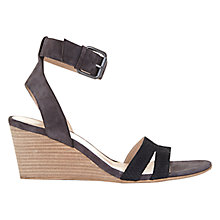 Buy Mint Velvet Gulia Suede Wedge Sandals, Grey/Black Online at johnlewis.com