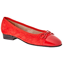 Buy John Lewis Ariel Quilted Suede Ballerina Pumps, Red Online at johnlewis.com