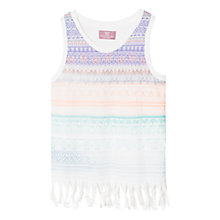Buy Mango Kids Girls' Boho Fringe T-Shirt, Natural White Online at johnlewis.com