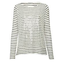 Buy Marella Tom Sequin Stripe Top, Dark Grey Online at johnlewis.com
