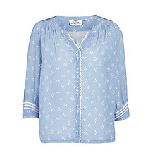 Buy Pyrus Katie Silk Print Blouse, Raindrop Chambray Online at johnlewis.com