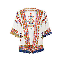 Buy Velvet Adali Fringed Cardigan, Off White Online at johnlewis.com