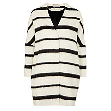 Buy Marella Ruth Stripe Cocoon Coat, White Online at johnlewis.com