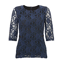 Buy Marella Coca Lace Peplum Top, Midnight Blue Online at johnlewis.com