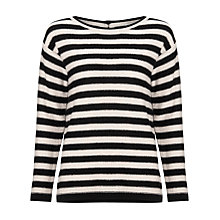 Buy Marella Manche Button Back Stripe Jumper, Monochrome Online at johnlewis.com