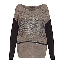 Buy Crea Concept Intarsia Metallic Jumper, Taupe/Black Online at johnlewis.com