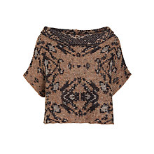 Buy Crea Concept Intarsia Abstract Print Crop Jumper, Taupe/Black Online at johnlewis.com