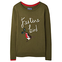 Buy Joules Festive Robin Jumper, Fennel Online at johnlewis.com