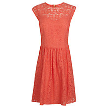 Buy Oasis Lace Skater Dress, Coral Online at johnlewis.com