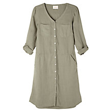 Buy East Fitted Linen Dress, Khaki Online at johnlewis.com