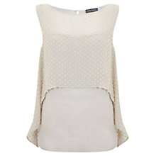 Buy Mint Velvet Dobby Layer Top, Stone Online at johnlewis.com