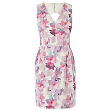 Buy Oasis V-Neck Fleur Print Lantern Dress, Multi Online at johnlewis.com