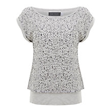 Buy Mint Velvet Sequin Layer Tee, Stone Online at johnlewis.com