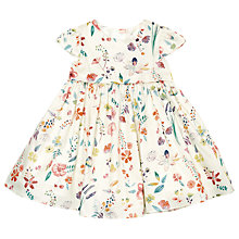 Buy John Lewis Baby's Floral Sateen Dress, Cream/Multi Online at johnlewis.com