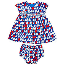 Buy Question Everything Baby Bunny Print Hand Smocked Dress, Red/Blue Online at johnlewis.com