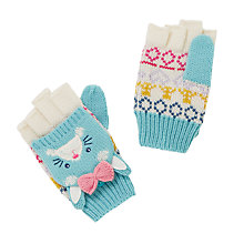 Buy John Lewis Novelty Rabbit Flip Top Gloves, Aqua Online at johnlewis.com