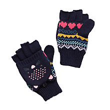 Buy John Lewis Novelty Cat Flip Top Gloves, Navy Online at johnlewis.com