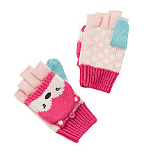 Buy John Lewis Novelty Fox Flip Top Gloves, Pink Online at johnlewis.com