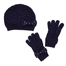Buy John Lewis Girl Plain Bow Hat And Gloves Set Online at johnlewis.com