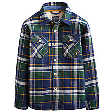 Buy Little Joule Boys' Ronan Fleece Lined Check Shirt, Green/Blue Online at johnlewis.com