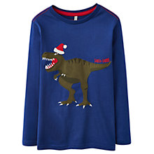 Buy Little Joule Boys' Christmas Santa-Saurus Dino Jersey, Blue Online at johnlewis.com