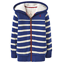 Buy Little Joule Boys' Guthrie Stripe Zip Through Hoodie, Navy/White Online at johnlewis.com