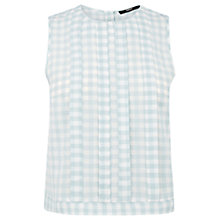 Buy Oasis Gingham Pleat Top, Pale Green Online at johnlewis.com