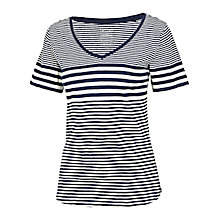 Buy Fat Face V-neck Stripe T-shirt, Navy Online at johnlewis.com