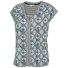 Buy Fat Face Tilsley Indigo Diamond Shell Top, Ivory Online at johnlewis.com