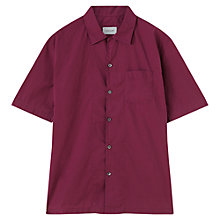 Buy Jigsaw Dyed Fine Poplin Short Sleeve Shirt, Magenta Online at johnlewis.com