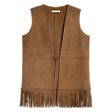 Buy Mango Fringed Vest, Tawny Online at johnlewis.com